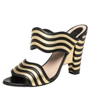Fendi Black/Gold Wave Striped Leather Mules Size 38.5