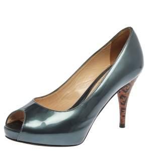 Fendi Teal Grey Patent Leather Zucca Print Heel Peep Toe Platform Pumps Size 36