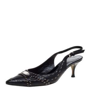 Fendi Black Leather Selleria Slingback Pointed Toe Sandals Size 37