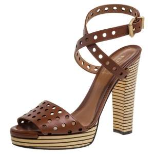 Fendi Brown Perforated Ankle Strap Platform Sandals Size 38
