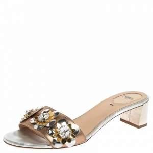 Fendi Metallic Bronze/Silver Leather Flowerland Slide Sandals Size 40