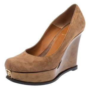 Fendi Brown Suede Platform Wedge Pumps Size 40