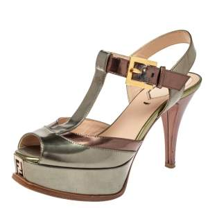Fendi Metallic Tri Color Fendista Platform T-Bar Ankle Strap Sandals Size 36
