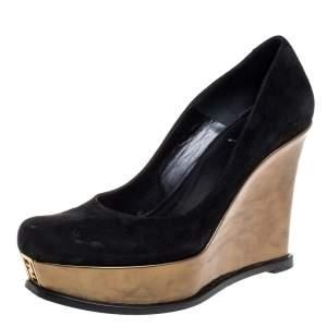 Fendi Black Suede Leather Wedge Platform Pumps Size 40