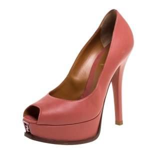 Fendi Salmon Pink Leather Fendista Platform Pumps Size 38.5