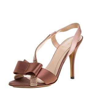 Fendi Brown/Beige Satin Crystal Embellished Bow Slingback Sandals Size 37