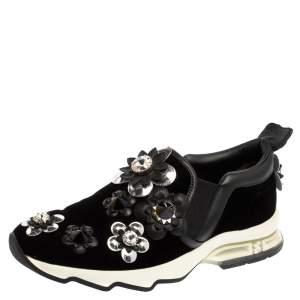 Fendi Black Velvet And Leather Trim Flowerland Slip On Sneakers Size 36