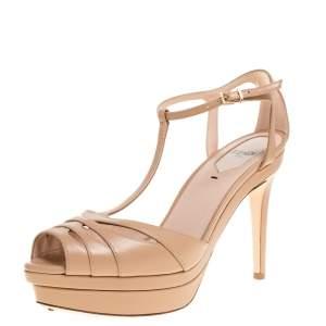 Fendi Nude Beige Cutout Leather T Strap Peep Toe Platform Sandals Size 38