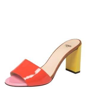 Fendi Red Patent Leather Block Heel Slides Size 37.5
