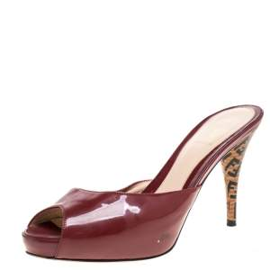 Fendi Burgundy Patent Leather FF Superstar Peep Toe Mule Slides Size 38