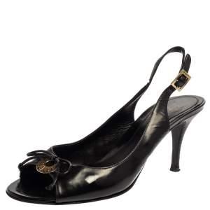 Fendi Black Patent Leather Logo Plaque Peep Toe Slingback Sandals Size 38