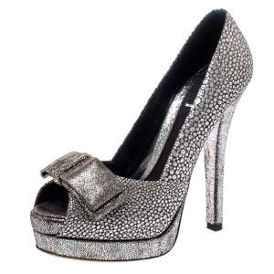 Fendi Silver Textured Fabric Bow Peep Toe Pumps Size 37