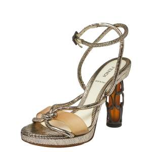 Fendi Metallic Leather Rope Strappy Sandals Size 37.5