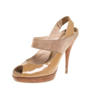 Fendi Beige/Tan Patent Leather and Suede Slingback Platform Sandals Size 40