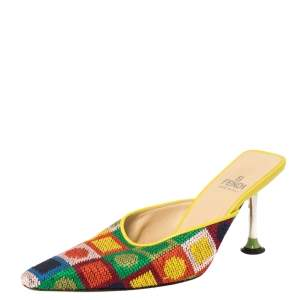 Fendi Multicolor Fabric Mule Sandals Size 37.5