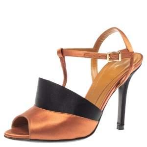 Fendi Bronze/Black Satin T-Strap Slingback Sandals Size 36