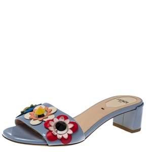 Fendi Blue Patent Leather Flowerland Embellished Sandals Size 35