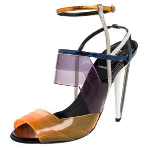 Fendi Multicolor PVC And Leather Iridia Open Toe Ankle Strap Sandals Size 39