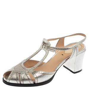 Fendi Metallic Silver Leather Chameleon Ankle Strap Sandals Size 39