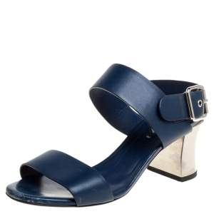 Fendi Blue Leather Metal Block Heel Ankle Strap Sandals Size 37.5