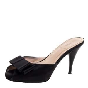 Fendi Black Satin Bow Peep Toe Slide Sandals Size 36.5