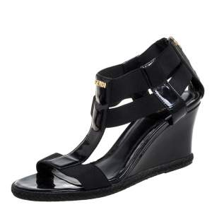 Fendi Black Elastic And Patent Leather Espadrille Wedge T-Strap Sandals Size 37
