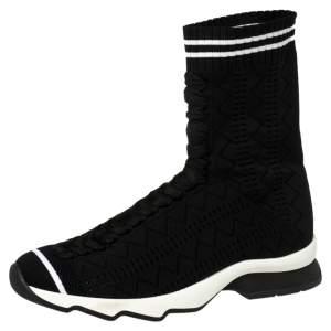 Fendi Black Knit Fabric Sock High Top Sneakers Size 37.5