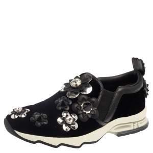 Fendi Black Velvet And Leather Trim Flowerland Slip On Sneakers Size 38