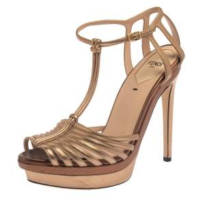 Fendi Metallic Dull Gold Leather T Strap Platform Sandals Size 37.5