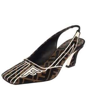 Fendi Multicolor  Freedom FF Logo Slingback Sandals Size 37.5