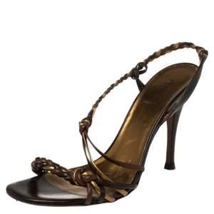 Fendi Multicolor Leather Slingback Sandals Size 40.5