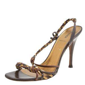 Fendi Gold/Brown Braided Leather Slingback Sandals Size 40.5