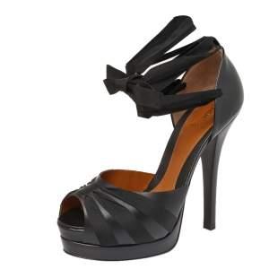 Fendi Black Leather D'Orsay Ribbon Wrap Platform Pumps Size 39