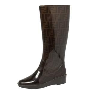 Fendi Tobacco Zucca Rubber Mid Calf  Rain Boots Size 39