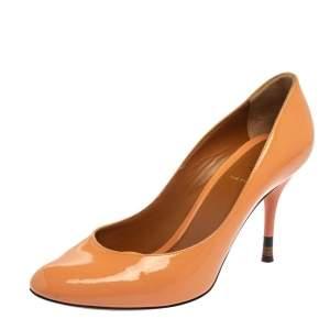 Fendi Orange Patent Leather Round Toe Pumps Size 39