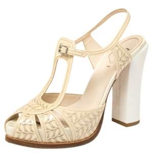 Fendi Cream Patent Leather Ankle Strap Platform Sandals Size 40