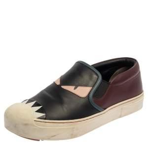 Fendi Multicolor Leather Monster Slip On Sneakers Size 38