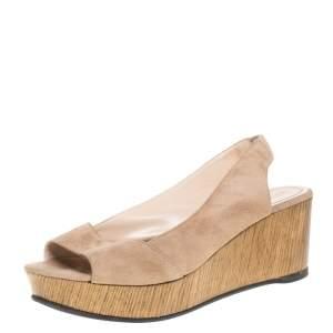 Fendi Beige Suede Leather Wedge Slingback Platform Sandals Size 38.5