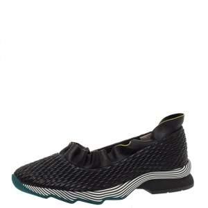 Fendi Black Smocked Leather Ruffle Trim Slip On Sneakers Size 40