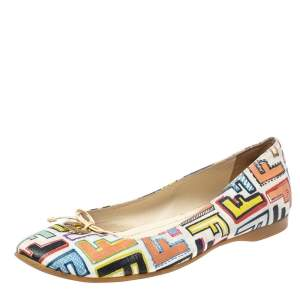 Fendi Multicolour Zucca Coated Canvas Logo Disc Ballerina Flats Size 38