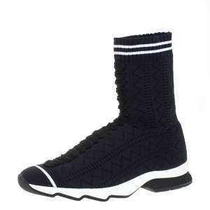 Fendi Black/Blue Knit Fabric Sock High Top Sneakers Size 39