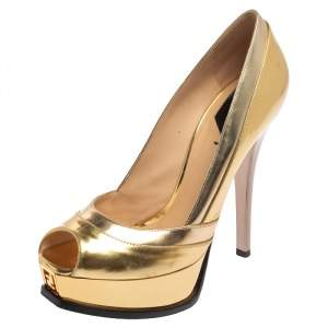 Fendi Gold Leather Fendista Peep Toe Platform Pumps Size 39