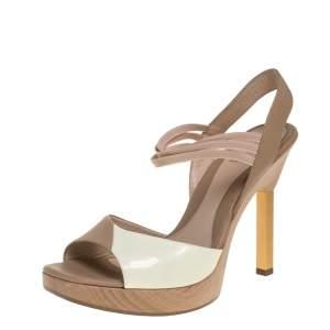 Fendi Cream/Beige Leather Slingback Platform Sandals Size 38.5