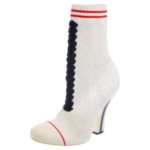Fendi White Knit Sock Slip on  Boots Size 37.5