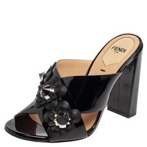 Fendi Black Patent Leather Flower Mule Sandals Size 36
