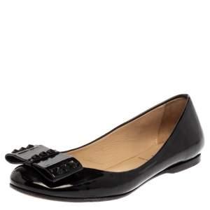 Fendi Black Patent Leather Studded Bow Ballet Flats Size 38
