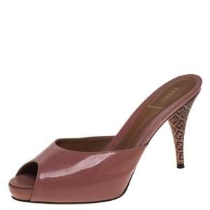 Fendi Blush Pink Patent Leather FF Superstar Peep Toe Slide Sandals Size 40