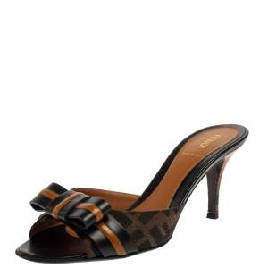 Fendi Black/Brown Zucca Canvas and Leather Pride and Prejudice Bow Slide Sandals Size 37.5