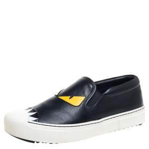 Fendi Black/Yellow Leather Monster Slip On Sneakers Size 39.5