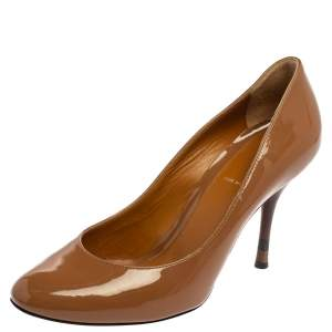 Fendi Brown Patent Leather Slip On Pumps Size 38